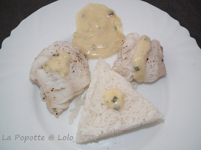 Filets de cabillaud vapeur, sauce crème herbes (thermomix)