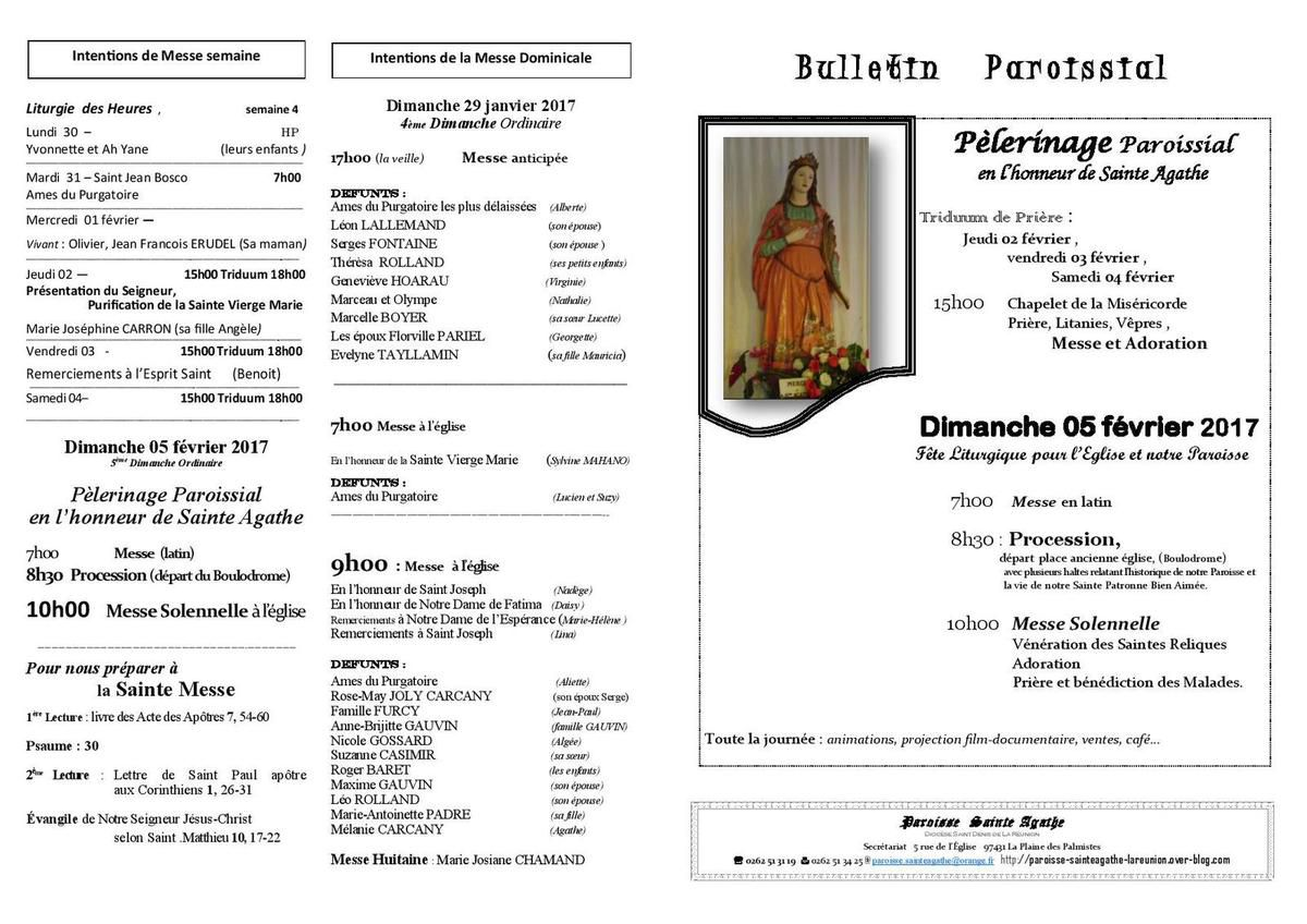 Bulletin 29 Janvier 2017 : prèparation pèlerinage paroissiale Sainte Agathe