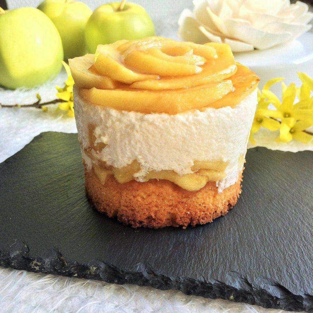 Entremet aux pommes et mousse de mascarpone vanillée