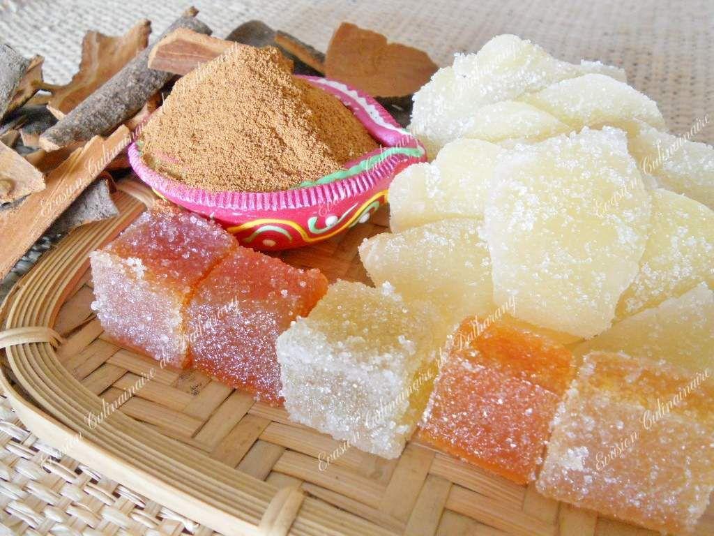 Ecorces et poudre de cannelle, gingembre confit, pâtes de fruits (evis, tangor, gingembre, combava et litchi)