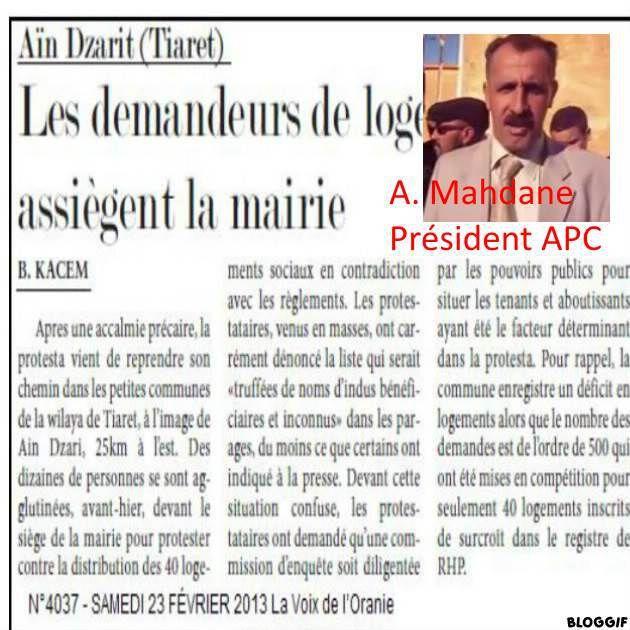 Le Wali de Tiaret, Aïn-Dzarit (5), distribution de 60 logements (social) ...