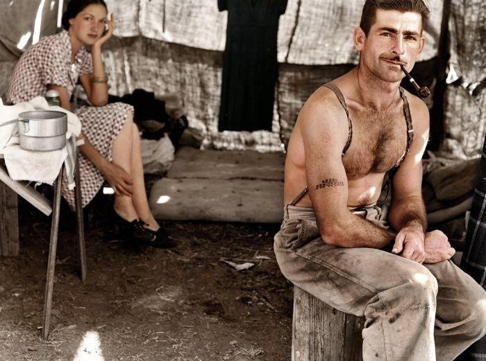 Un bûcheron au chômage et sa femme, 1939.