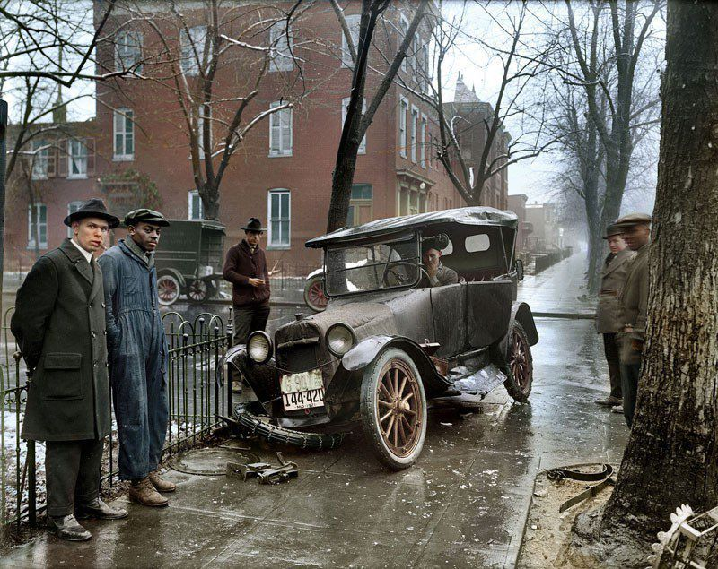 Un accident de la route à Washington, 1921.