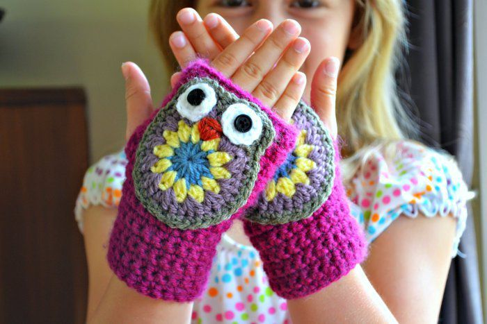 Free Crochet Pattern For Owl Hand Warmers : mitaines hibou - tuto gratuit - DIY - tutolibre