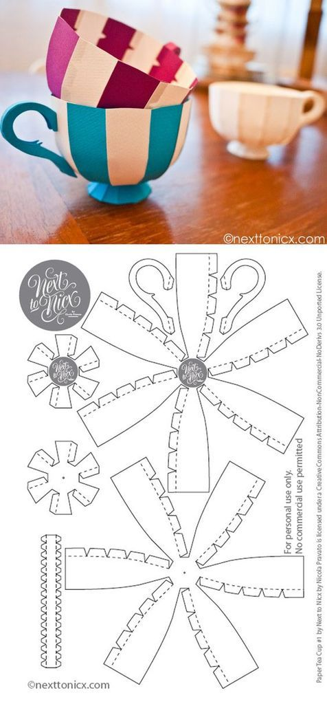 tea cup / papier (tutoriel gratuit - diy)