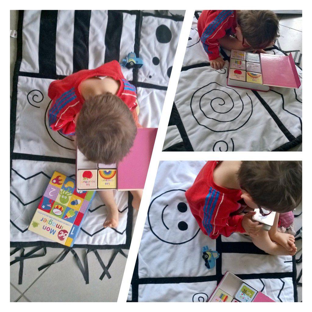 Hop'Toys et le tapis sensoriel noir et blanc
