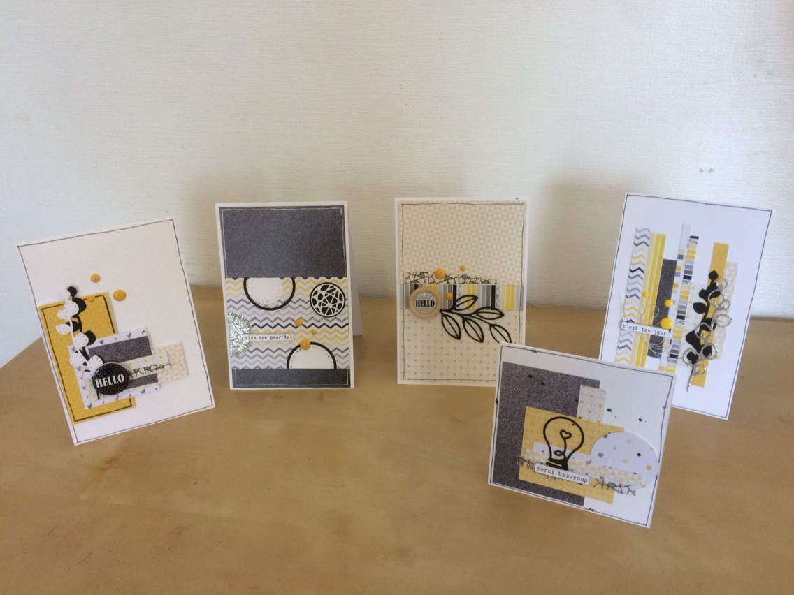 Marilyne ; Cartes un air chic en jaune