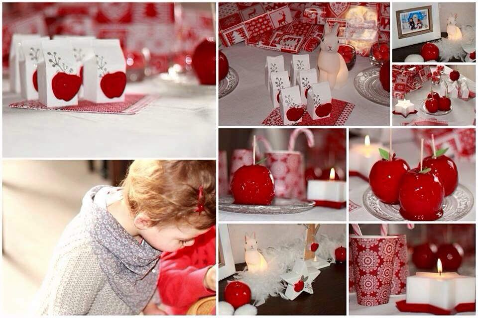 J-6 Marilyne : decoration de table rouge et blanche