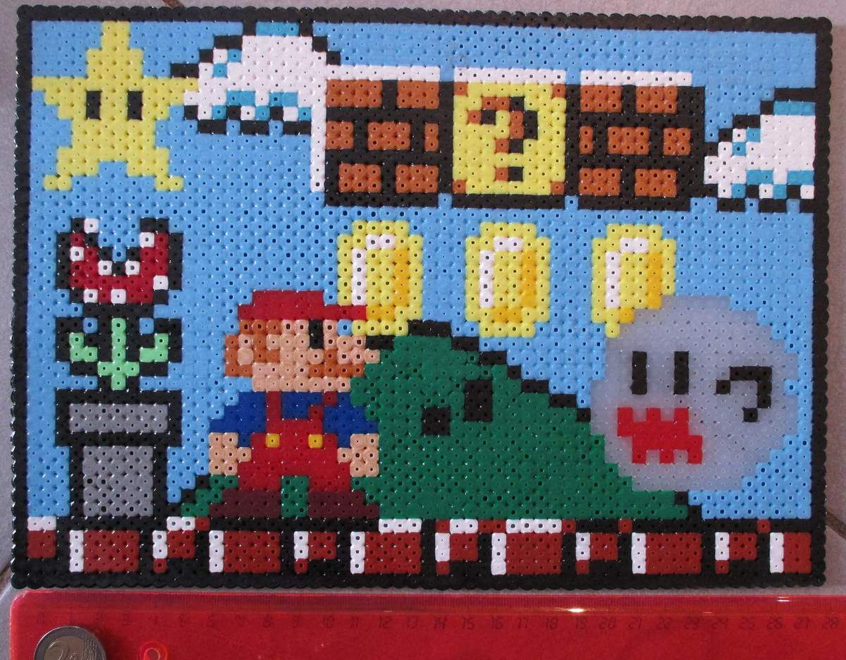mario hama beads pixel art en perle repasser. Black Bedroom Furniture Sets. Home Design Ideas