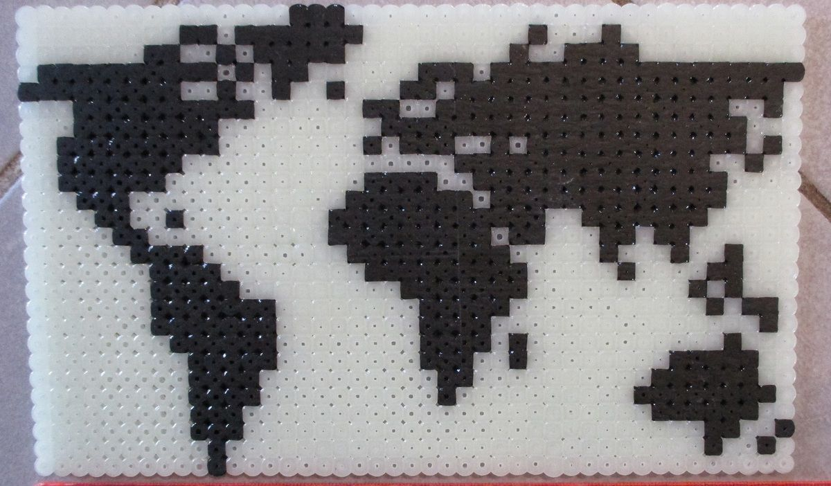world map perler beads