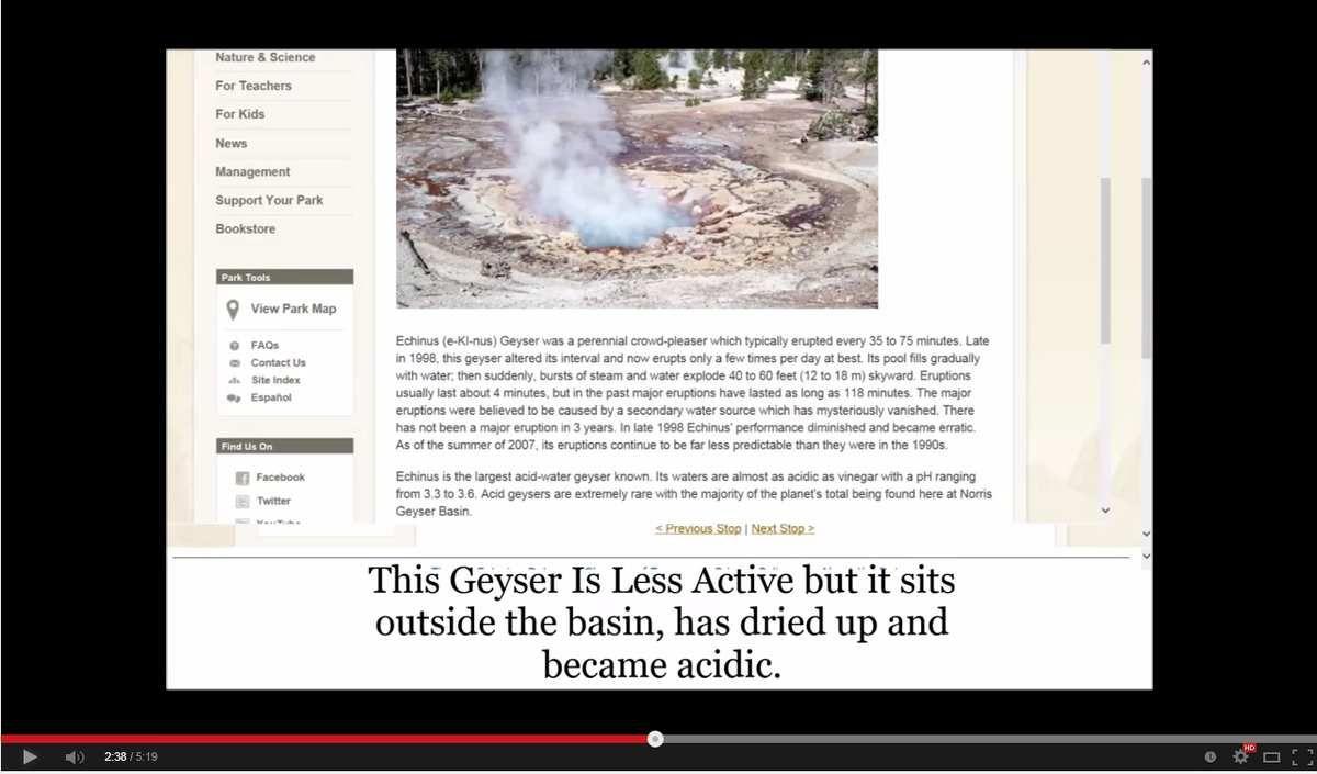 Ce geyser est moins actif , mais il est devenu acide