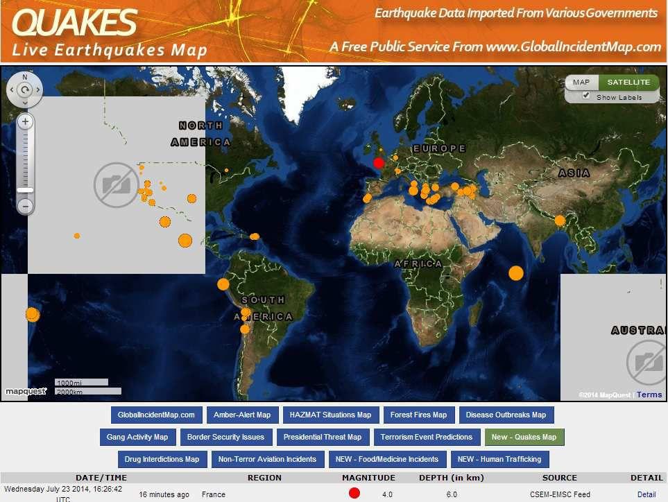 Un tremblement de terre de 4 points en France