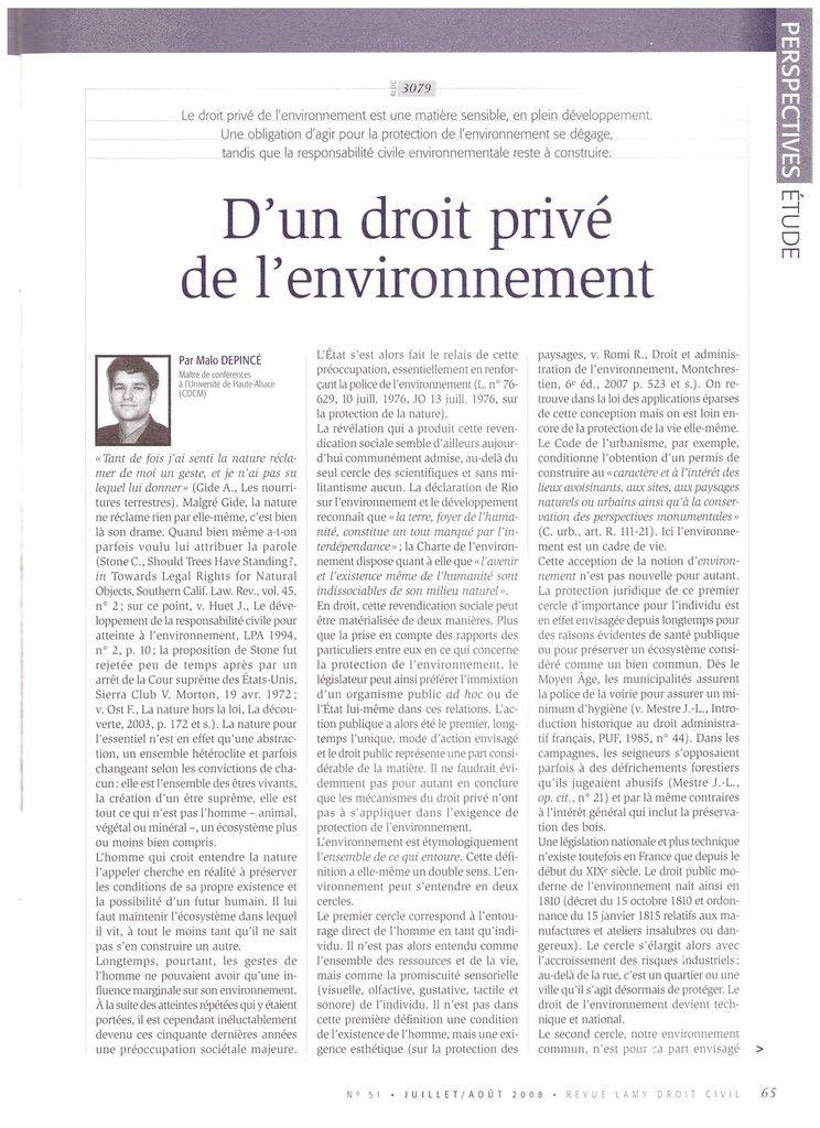 D'un droit privé de l'environnement