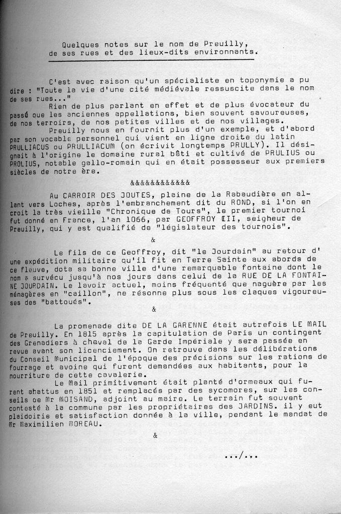 Cahiers de la Poterne n°1  : noms de lieux à Preuilly