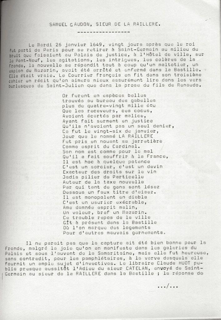 Cahiers de la Poterne n°1 : Samuel Gaudon, sieur de la Raillière