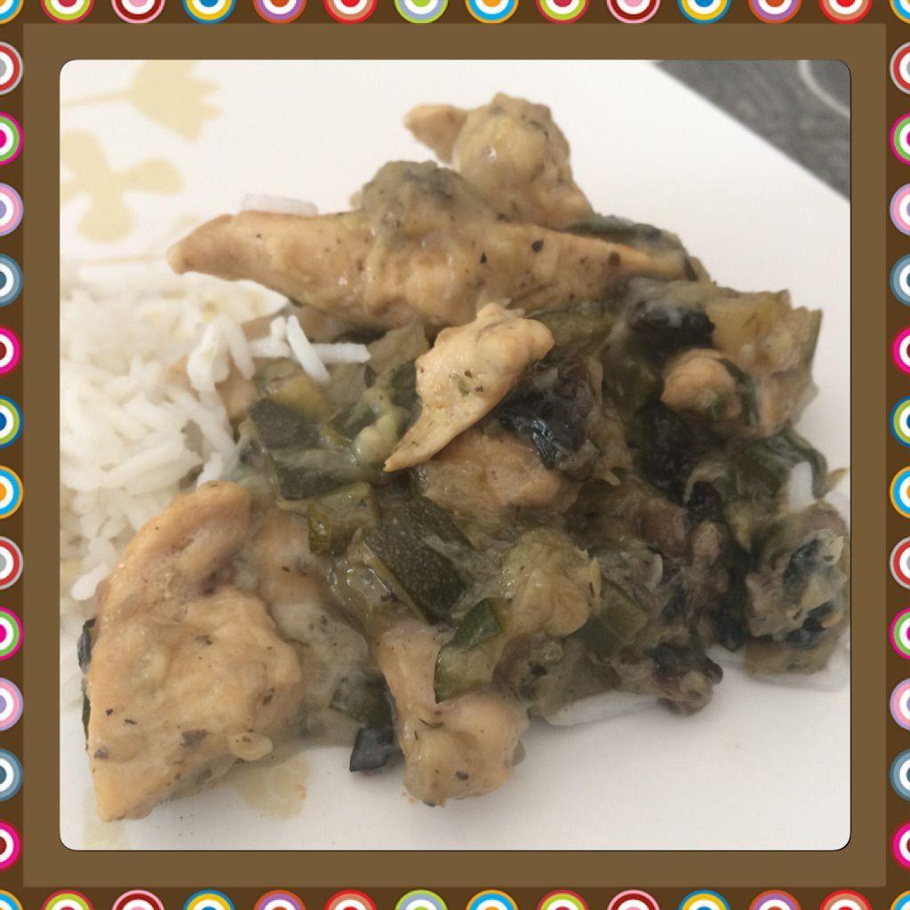 Poêlée poulet courgette champignons