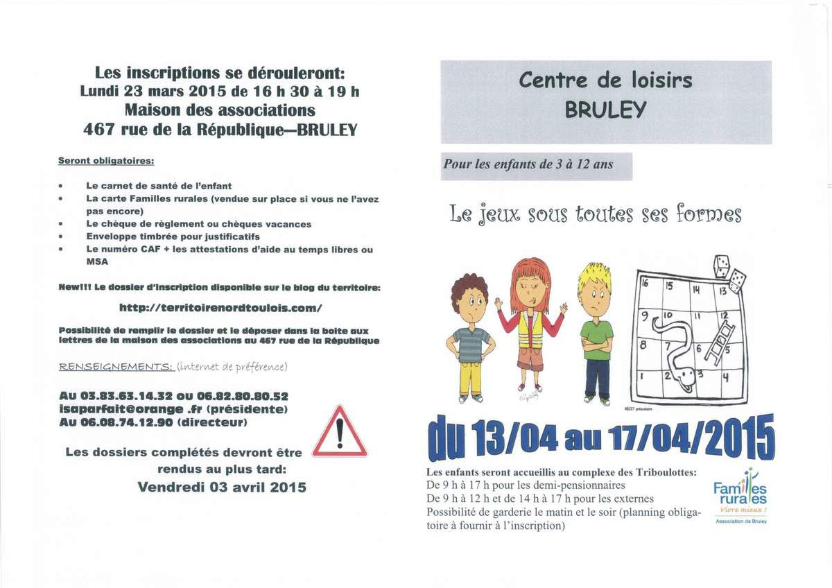 Centre de loisirs Bruley - Avril 2015
