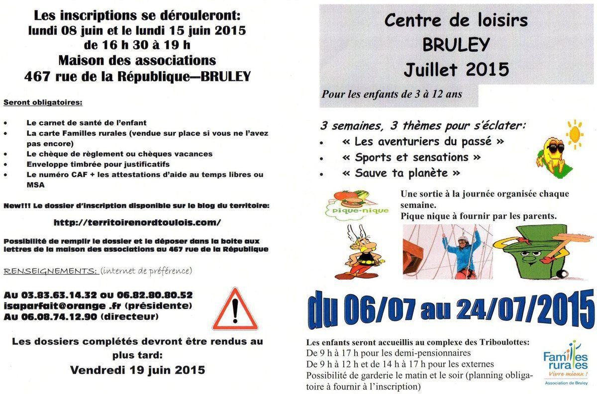 Centre de loisirs Ete 2015- Bruley + dossier inscription