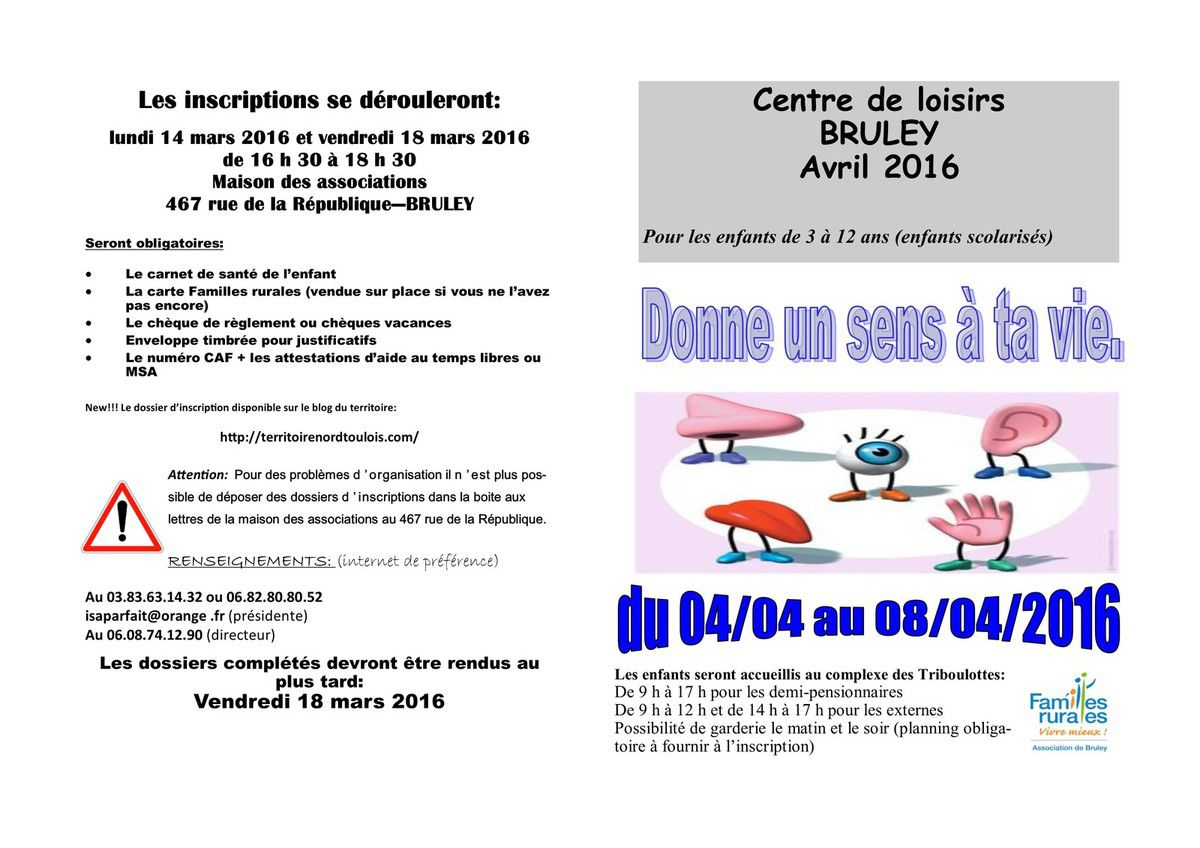centre de loisirs Bruley- avril 2016