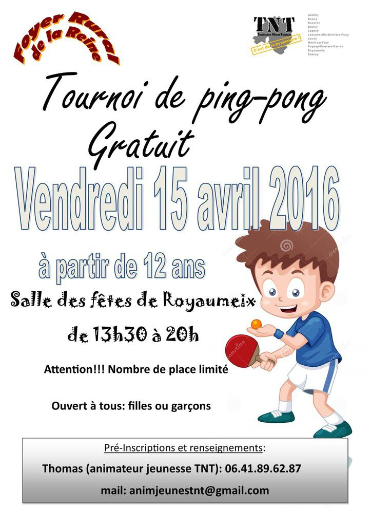 tournoi de ping-pong, vendredi 15 avril 2016