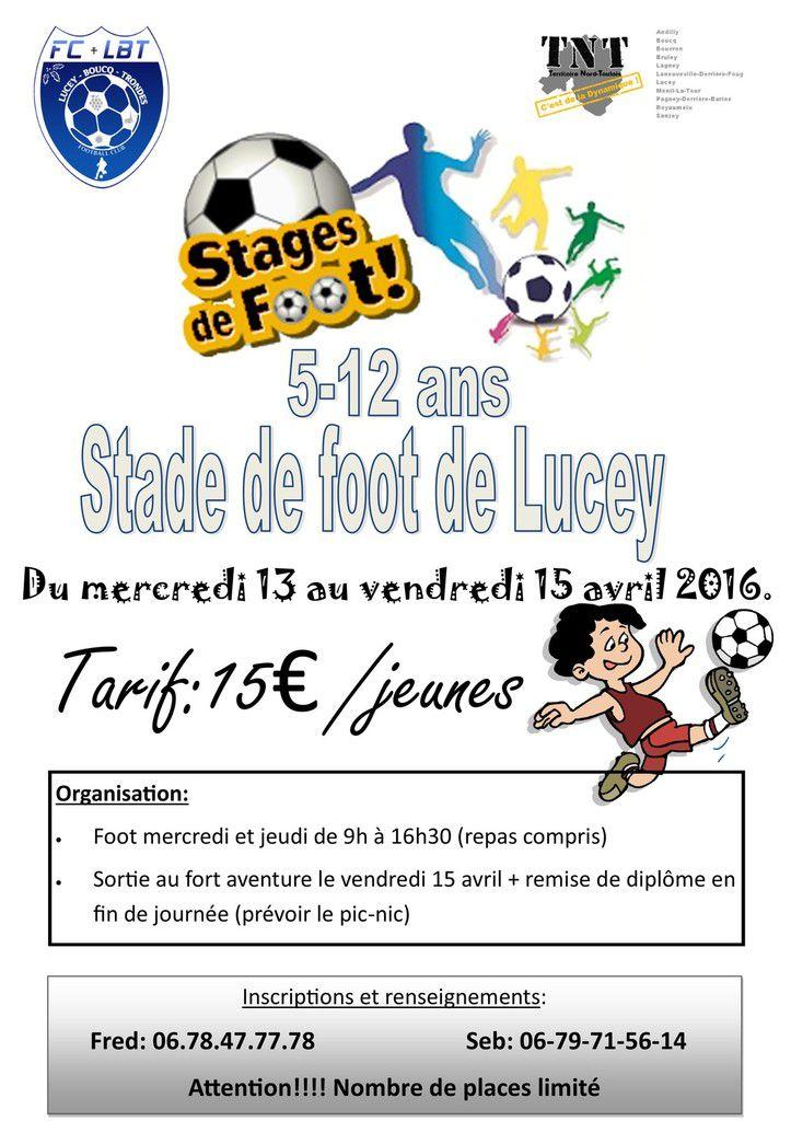 Stage de foot à lucey 5-12 ans (vacances avril 2016)