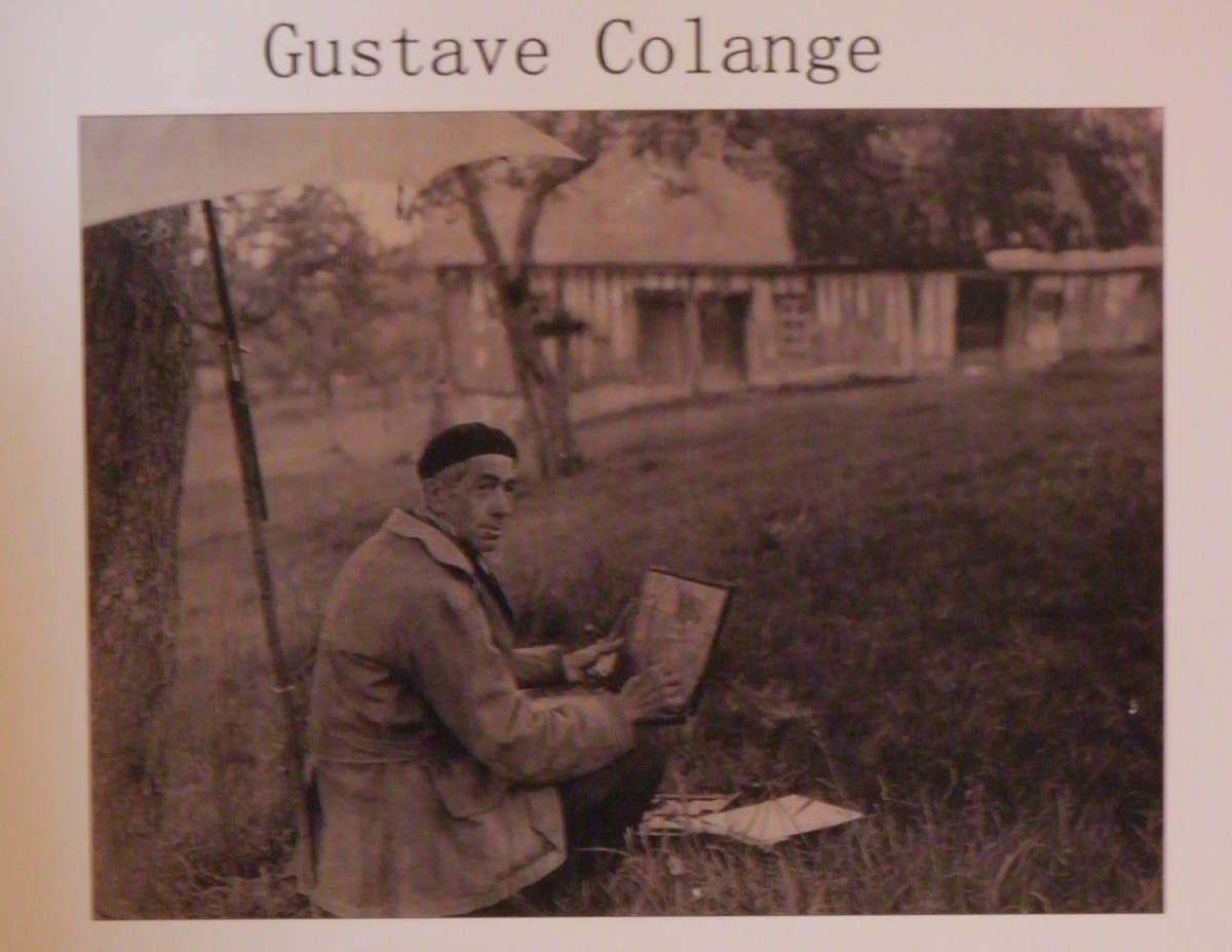 Gustave Colange en train de peindre.