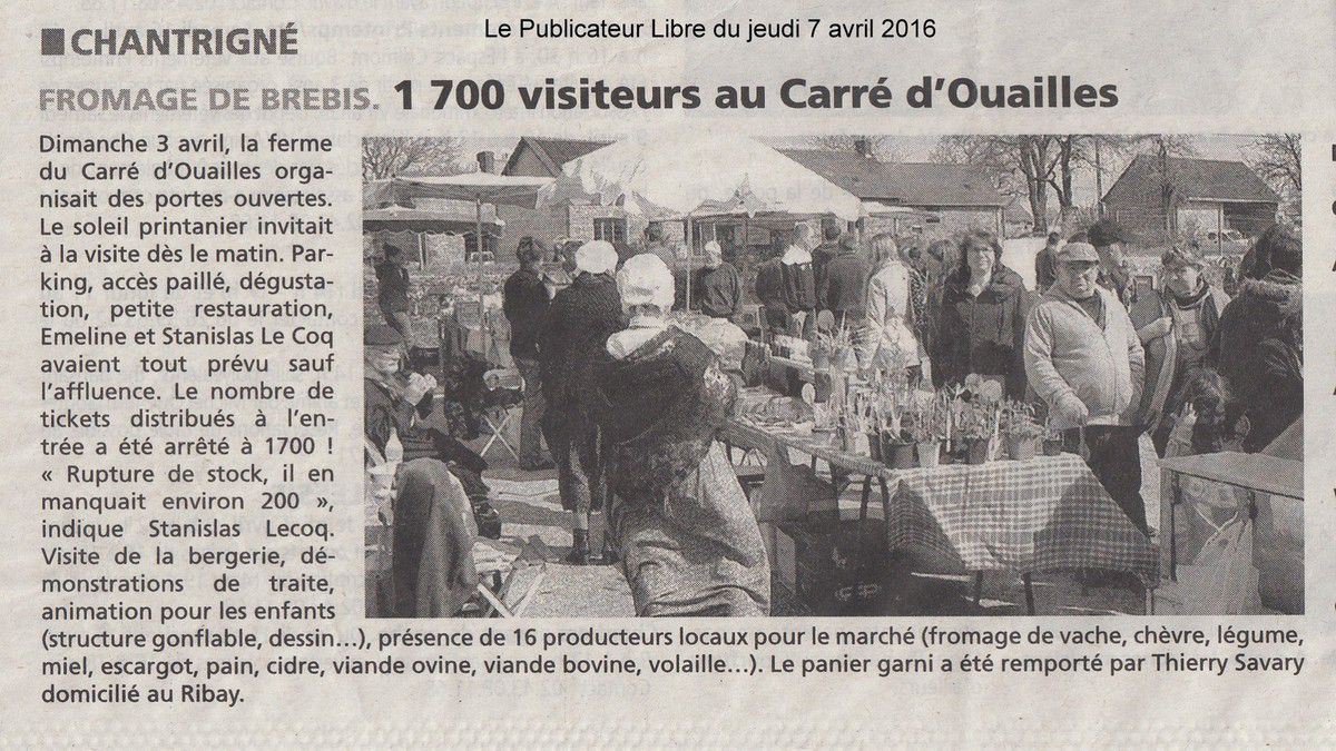 Le Publicateur Libre du 7 avril 2016.