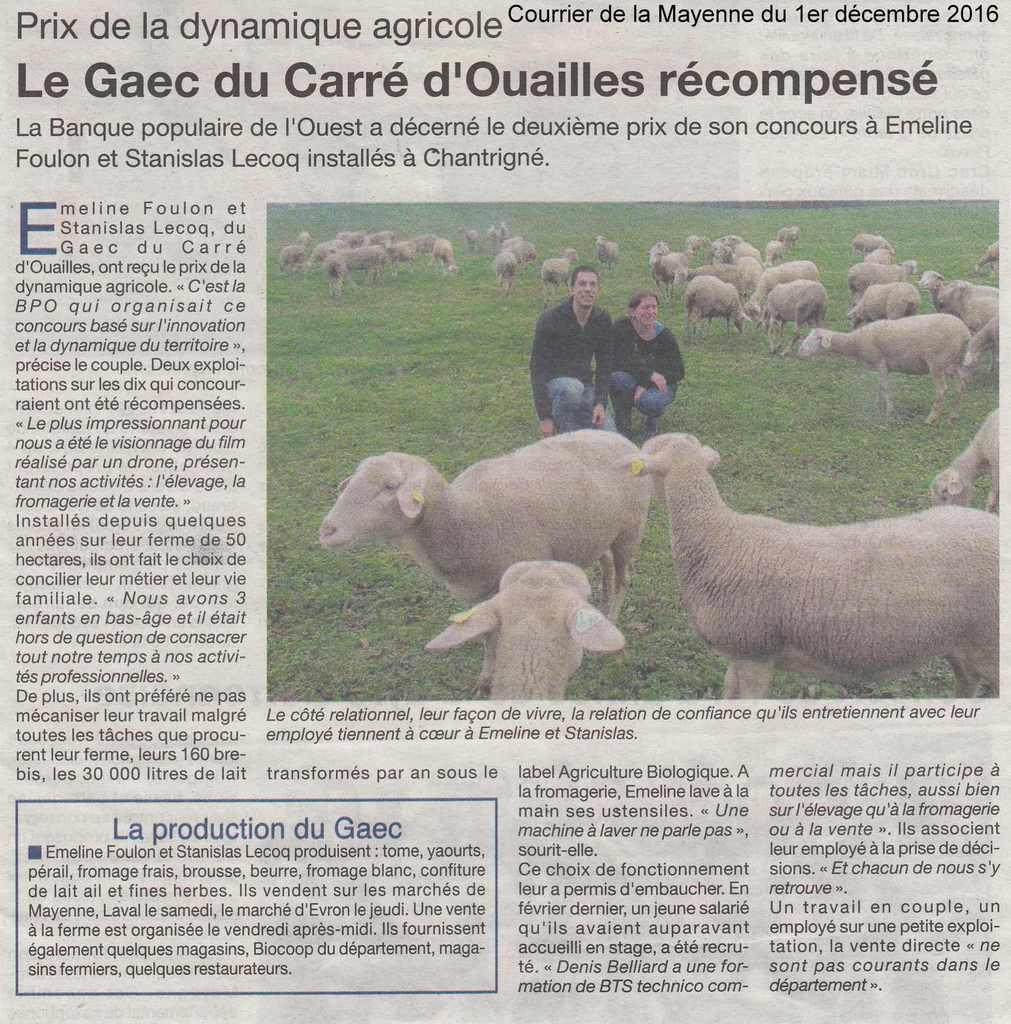 Le Courrier de la Mayenne du 1er décembre 2016.