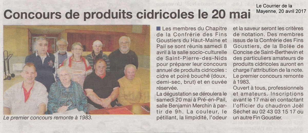 Le Courrier de la Mayenne du 20 avril 2017.