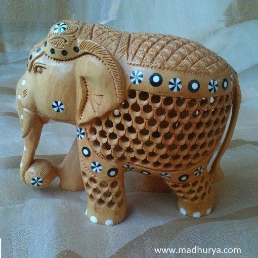 Wooden Elephant with Prints