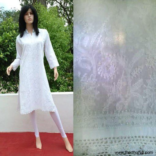 Designer kurti done in the most famous lucknowi chickan work.