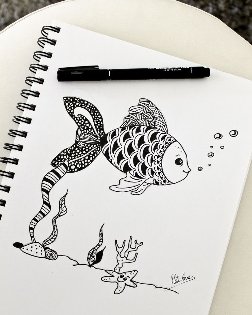 Mon poisson du 1er avril façon zentangle