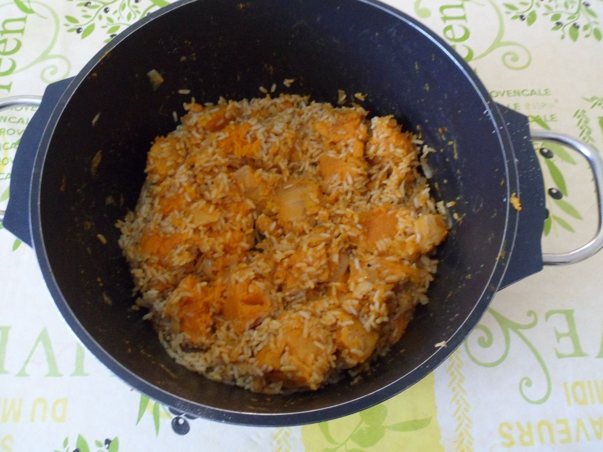 Courge butternut en risotto