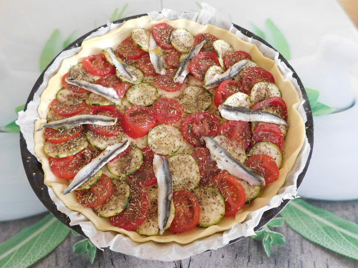 Feuilletés aux tomates , à la courgette et aux anchois