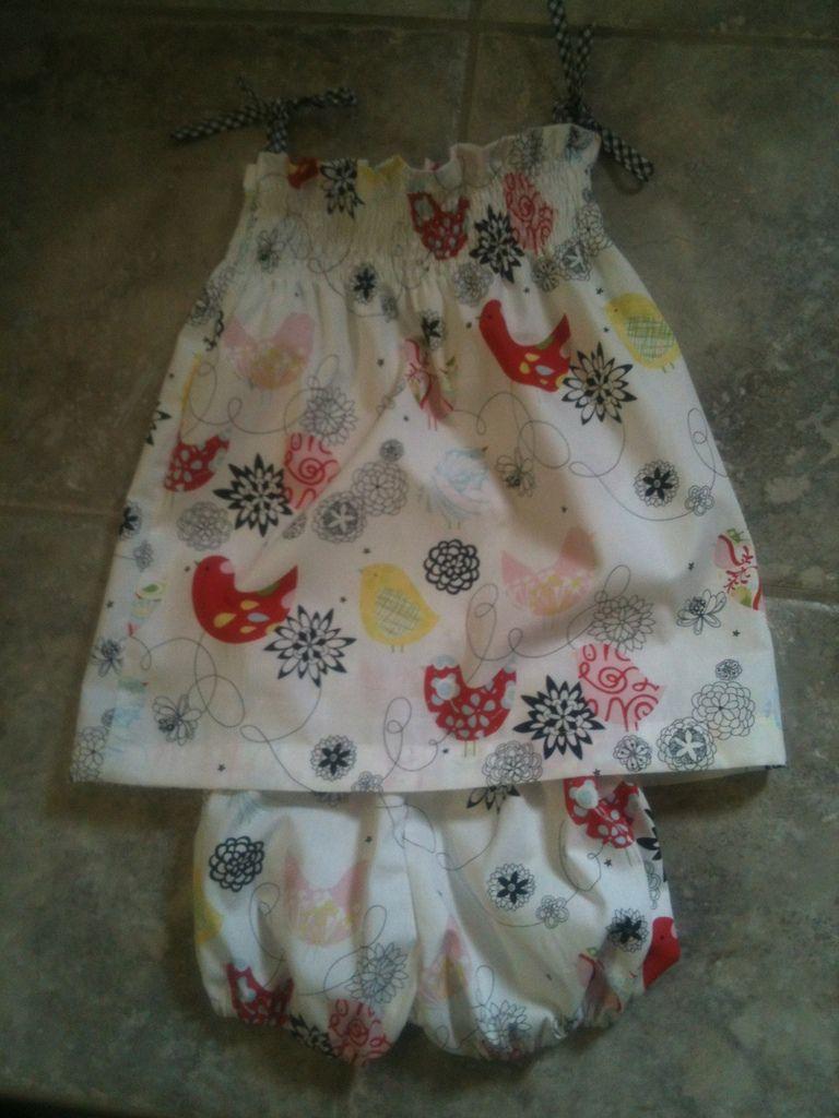 ELISE - Robe à smocks à nouer et bloomer en coton imprimé