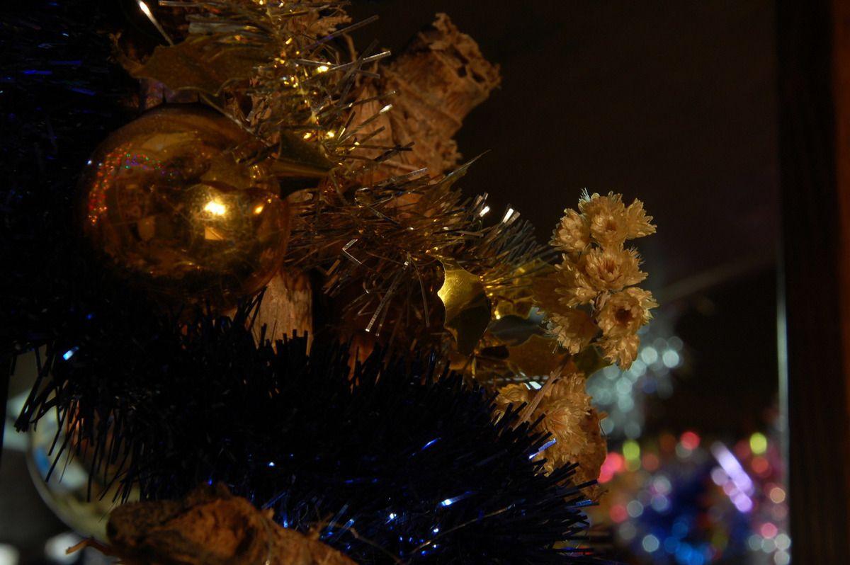 Un roseau, une boule de Noël et des immortelles sous oublier la guirlande.