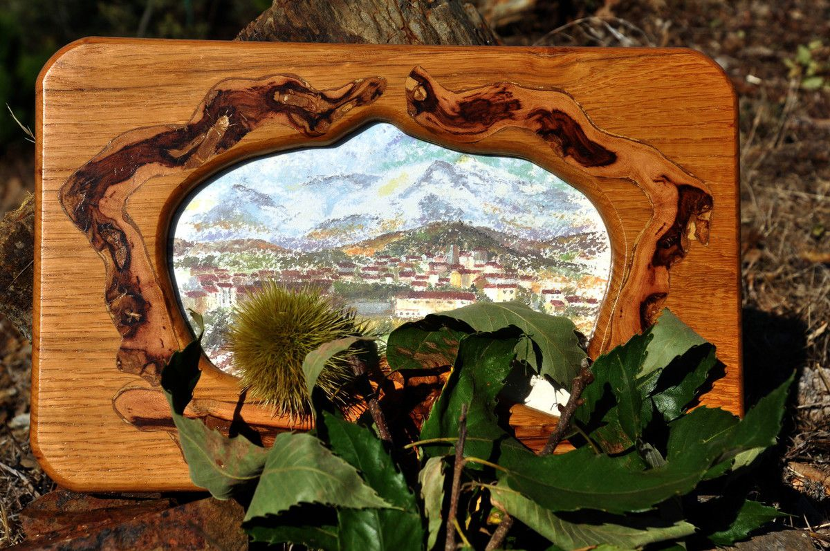 Cadre chêne et vigne , et peinture Montner (80€)