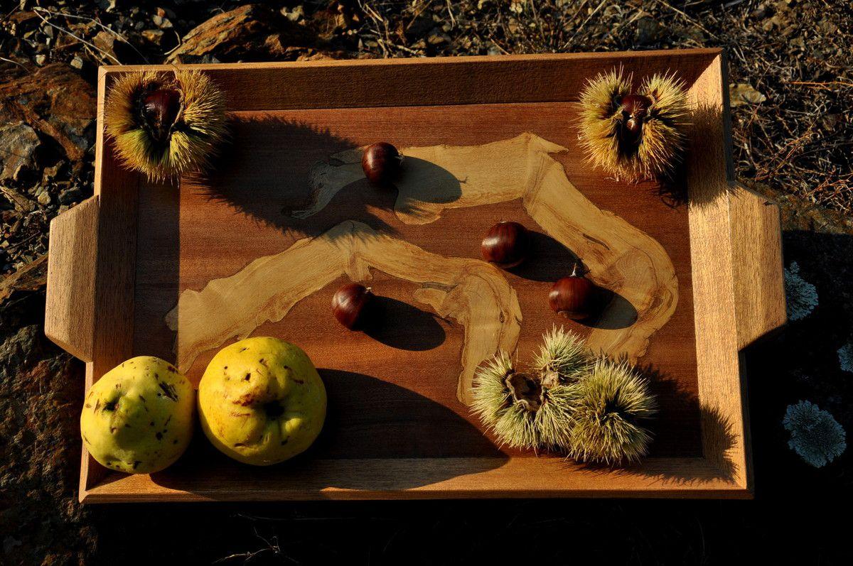 Grand plateau en bois exotique rouge et romarin (60€)