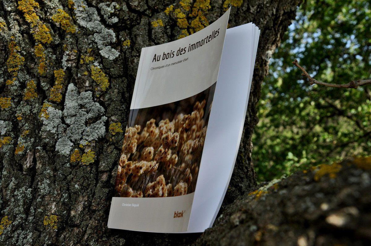 """Mon livre """"au bois des immortelles"""" sur un grand chêne."""