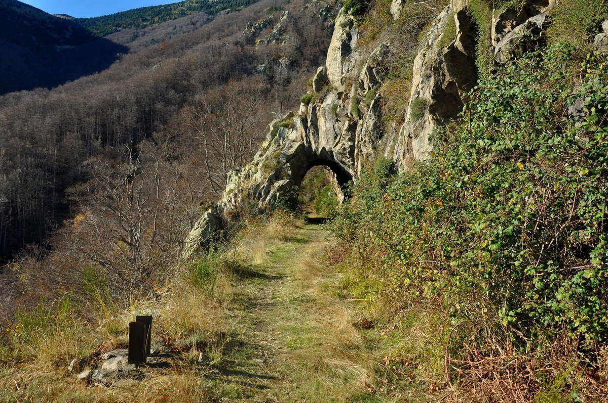 Un petit tunnel creusé dans la roche