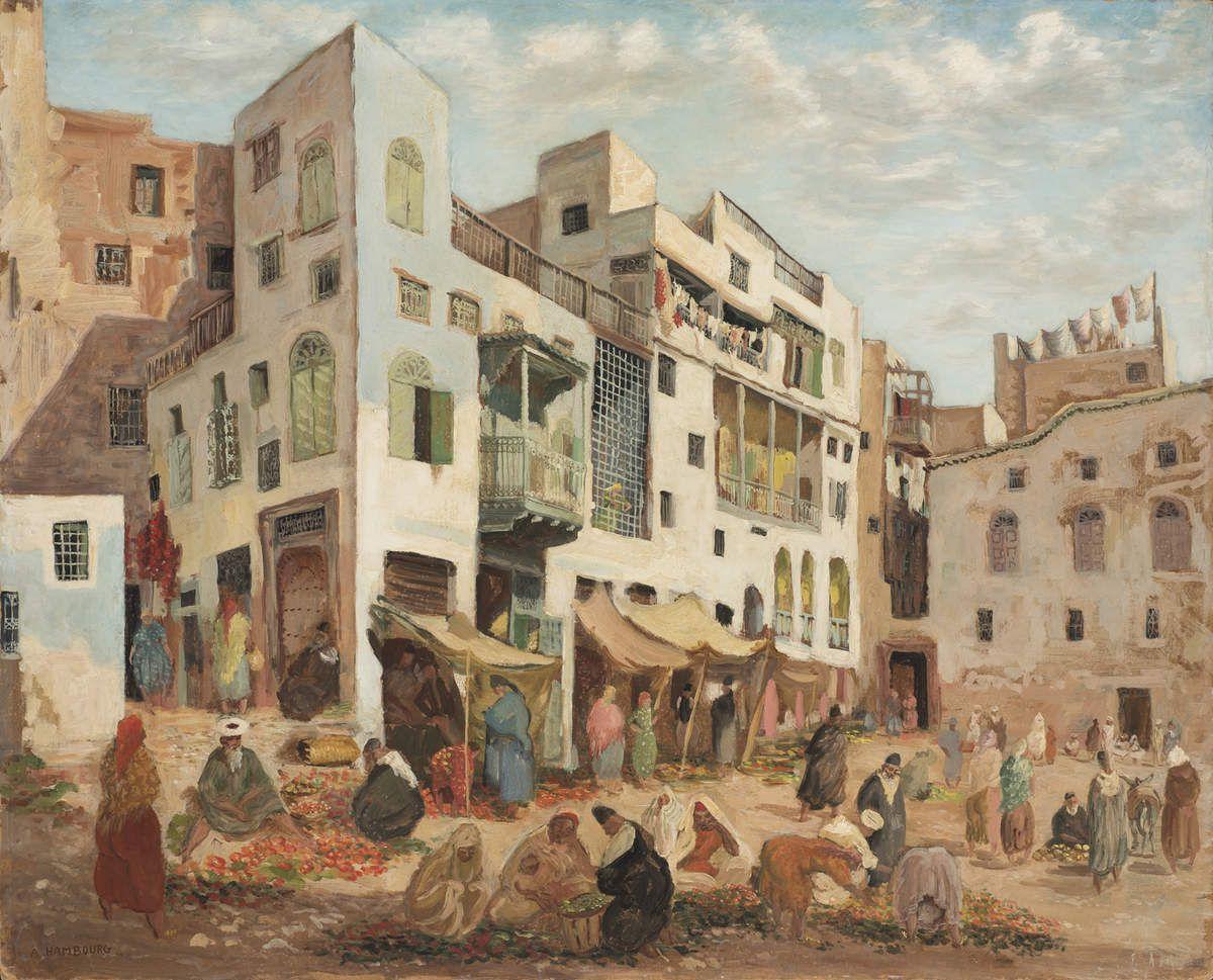Le marché du Mellah, 1940 Huile sur isorel, 81 x 100 cm Deauville, Musée André Hambourg, Les Franciscaines, Inv. 2011.1. 103 © Les Franciscaines, Ville de Deauville