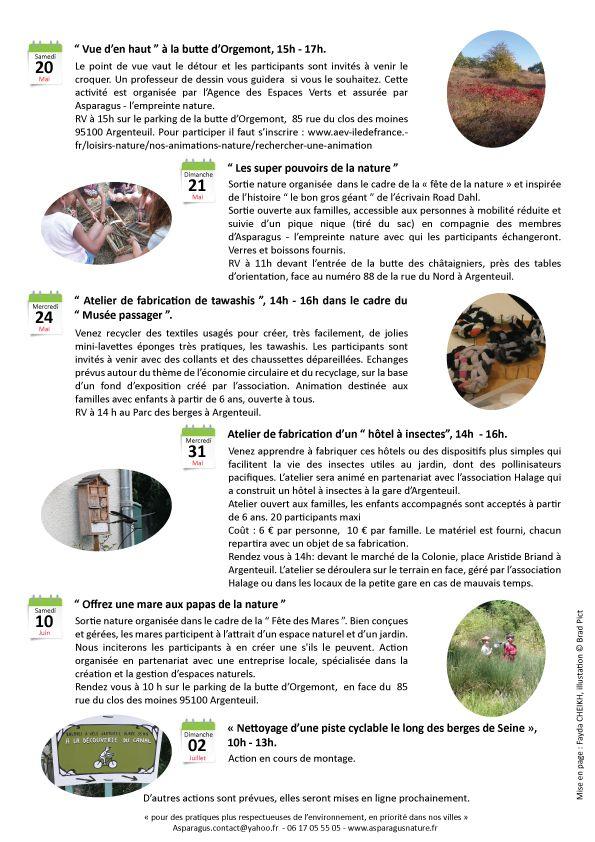 Actions récentes et à venir de nature et d'environnement initiées par Asparagus - l'empreinte nature pour le premier semestre 2017