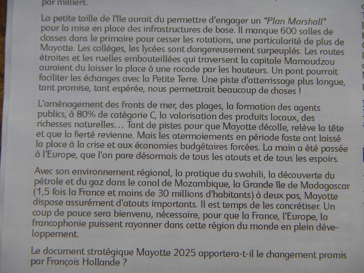 Article de Laurent Canavate. Mayotte Hebdo 22 août 2014.