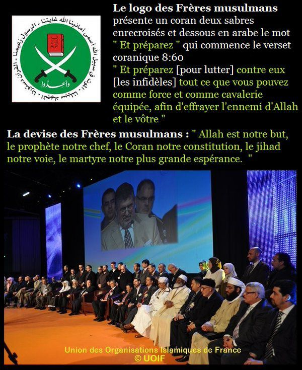 Le logo et la devise pas du tout belliqueux des Frères Musulmans