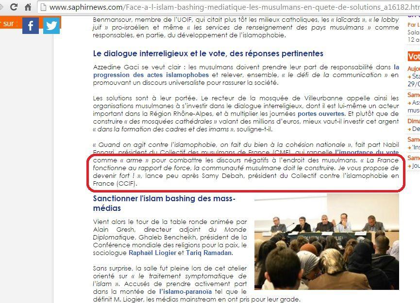 Voici le discours de Samy Debah, président du CCIF, en 2013, lors d'un congrès de l'UOIF au Palais des Congrès à Paris
