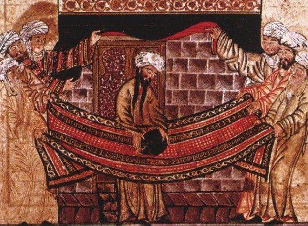 Illustration de 1315 tirée du Jami al-tawarikh, inspirée du récit de la remise en place de la pierre noire par Mahomet et les aînés des clans de La Mecque (source : Wikipédia)