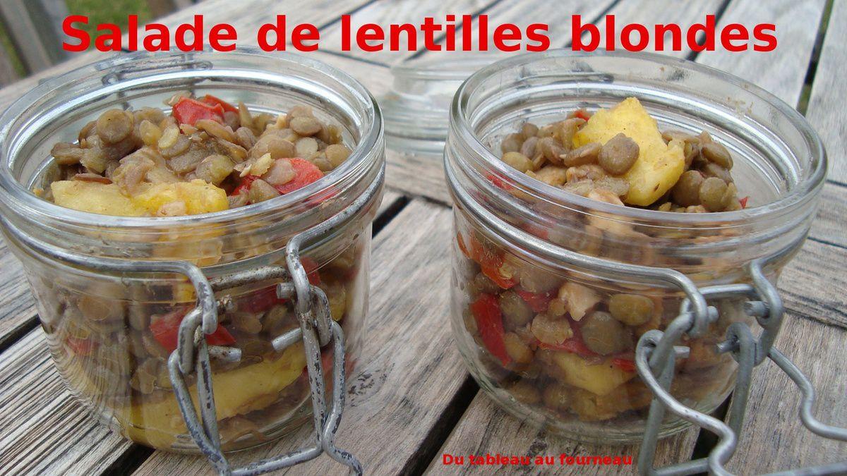 Salade de lentilles blondes ananas poivron et poulet du tableau au - Comment cuisiner des lentilles blondes ...