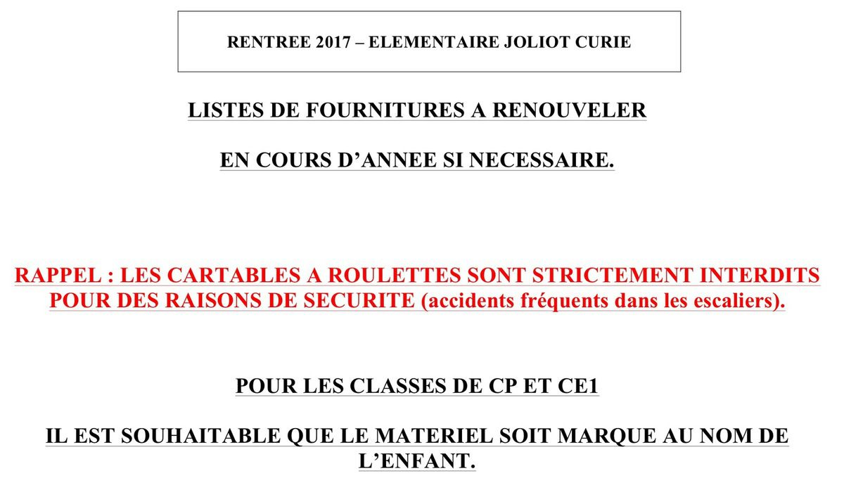 2017 Listes de fournitures pour les classes, du CP au CM2