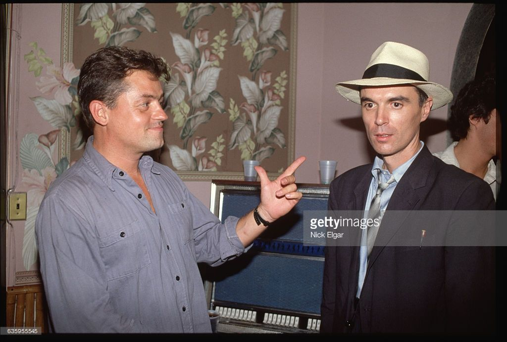 Photo by http://www.gettyimages.co.uk/detail/news-photo/talking-heads-lead-singer-and-guitarist-david-byrne-talks-news-photo/635955545?#talking-heads-lead-singer-and-guitarist-david-byrne-talks-with-demme-picture-id635955545