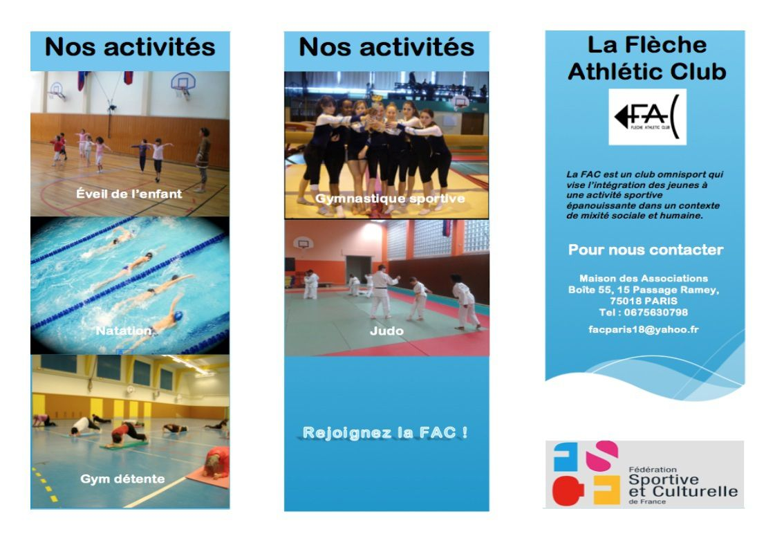 Le flyer de la fac fl che athl tic club for Club piscine flyer